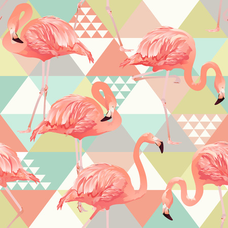 Jungle pink flamingos. Wallpaper print background mosaic. Exotic beach trendy seamless pattern, patchwork illustrated floral vector tropical banana leaves.