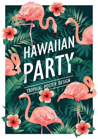 Hawaiian party. Vector illustration of tropical birds, flowers, leaves