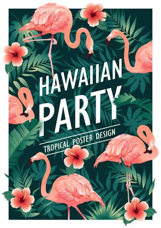 Impreza hawajska. Ilustracja wektorowa tropikalnych ptaków, kwiatów, liści