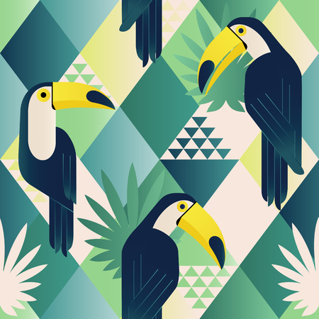 Exotic beach trendy seamless pattern, patchwork. Jungle toucan. Wallpaper print background mosaic. Stock Illustratie