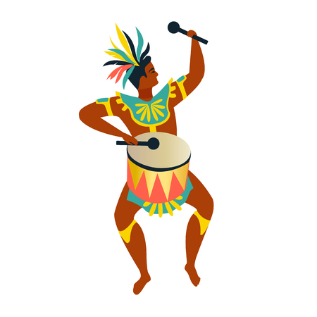 Brazilian samba dancers Rio de Janeiro. Vector carnival character dancing. Illustration