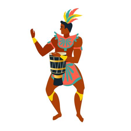 Brazilian samba dancer vector illustration