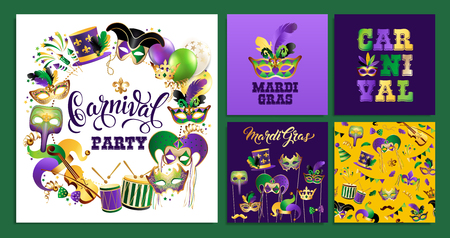 Template with Golden Carnival Masks on Black Background. Glittering Celebration Festive Border.