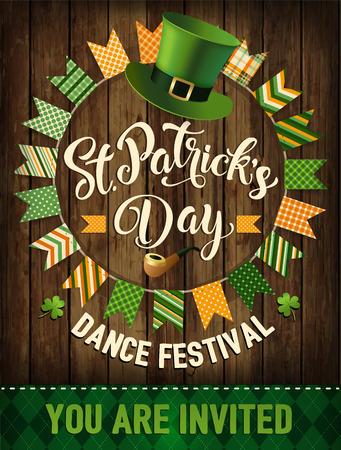 St. Patricks Day vintage holiday badge design. Vector illustration. Stock Vector - 94462700