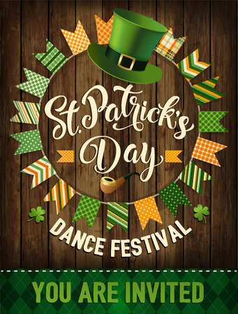 St. Patricks Day vintage holiday badge design. Vector illustration.