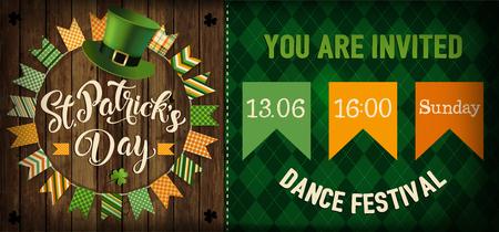 St. Patricks Day vintage holiday flyer design. Vector illustration. Illustration