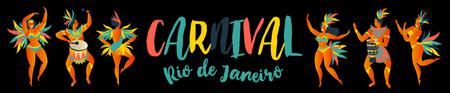 Banner of Brazilian samba dancers Rio de Janeiro. Vector carnival girls and man dancing.