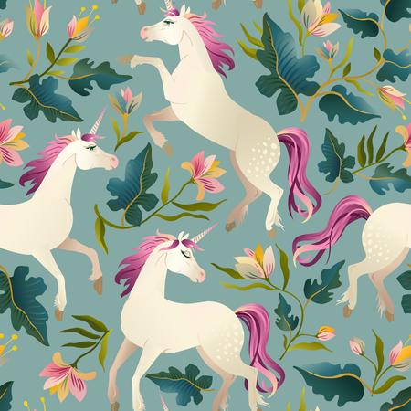 La main dessinée vintage Licorne dans le modèle sans couture de la forêt magique. Illustration vectorielle
