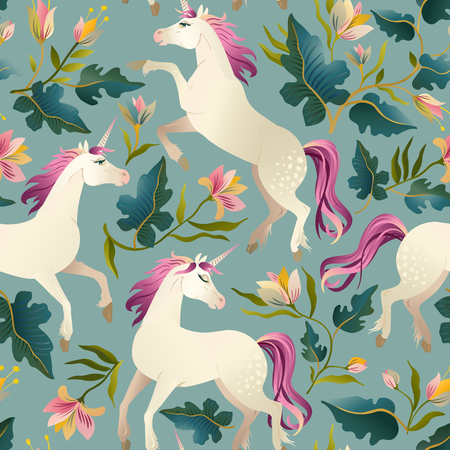 Hand drawn vintage Unicorn in magic forest seamless pattern. Vector illustration.