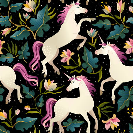 Seamless pattern with beautiful unicorns. Vector magic background for kids design.