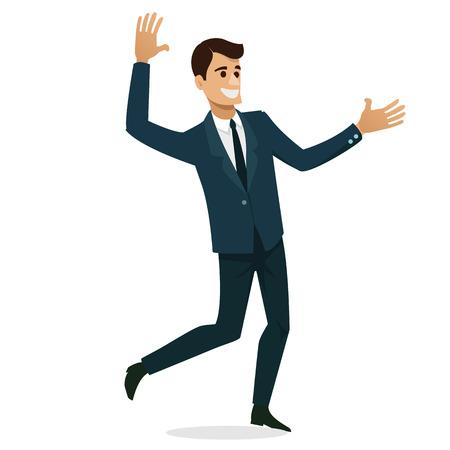 Set of Businessman happy character design. Vector illustration.