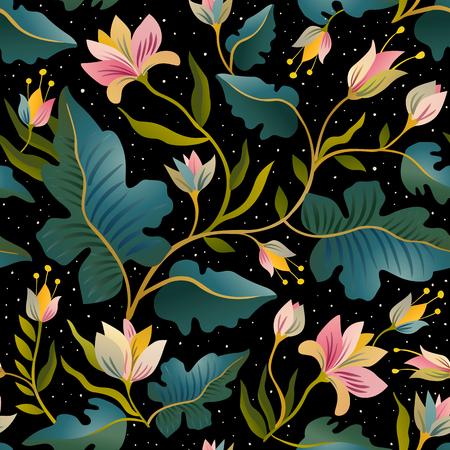 Sin patrón , con hermosas fantásticas flores. vector de fondo mágico . Foto de archivo - 95089996