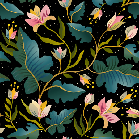Seamless pattern with beautiful fantastic plants. Vector magic background.