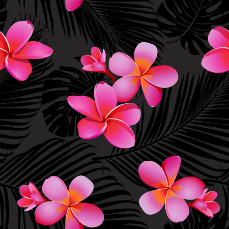 Tropical coral flowers and leaves on black and white background tropical coral flowers and leaves on black and white background seamless vector stock mightylinksfo