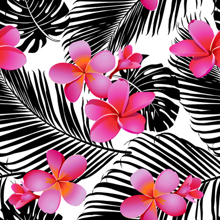 Tropical coral flowers and leaves on black and white background. Seamless. Vector. Illustration
