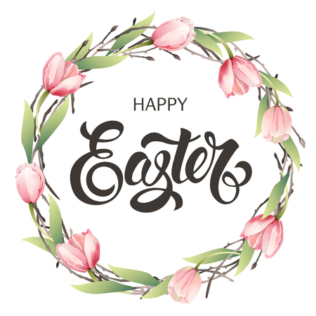 Happy Easter Typography Background with wreath tulips and calligraphy greeting.