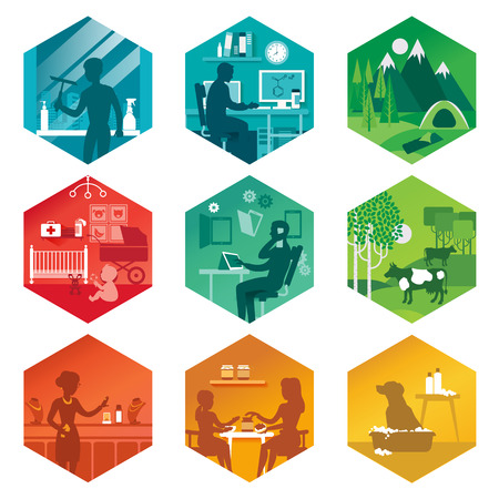 A set of icons with different everyday scenes. Vector illustration. Illustration