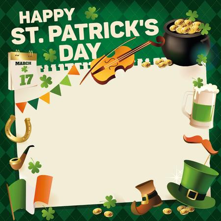 St. Patricks Day vintage holiday frame for text design calendar, hat, mustache, mug, violin. Vector illustration.