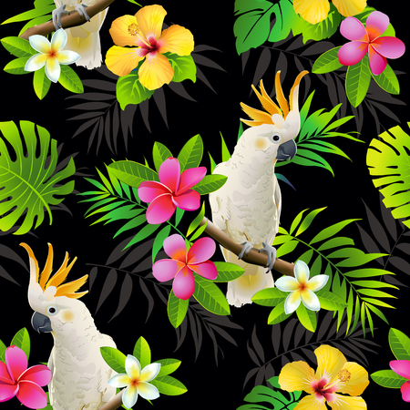 Seamless pattern of parrots cockatoo on the tropical branches with leaves and flowers on dark. Hand drawn vector