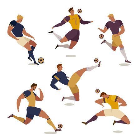 Football soccer player set vector illustration