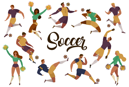 Football soccer players cheerleaders fans set of isolated human figures with merch marks of favourite team vector illustration Banque d'images - 96208123