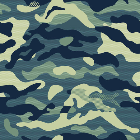 Camouflage pattern background seamless vector illustration. Classic clothing style masking repeat print. Dark Blue colors forest texture