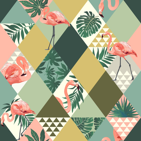 Exotic beach trendy seamless pattern with pink flamingos print.