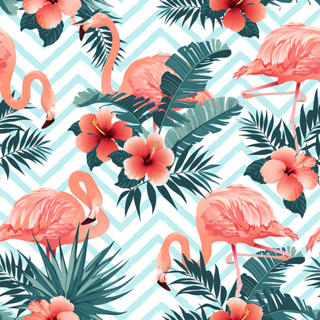 Beautiful flamingo birds and tropical flowers background seamless pattern vector.