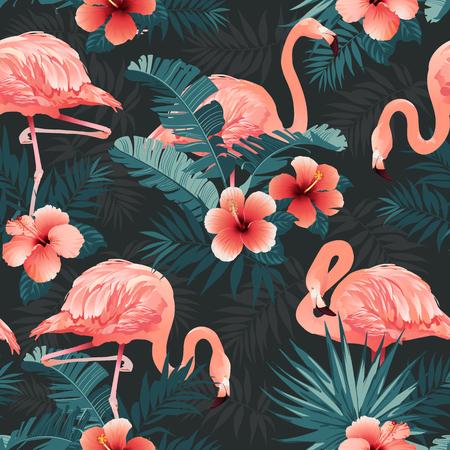 Piękne ptaki flamingo i tropikalne kwiaty tło wektor wzór.