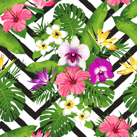 Tropical flowers and palm leaves on zig zag background. Seamless. Vector. 일러스트