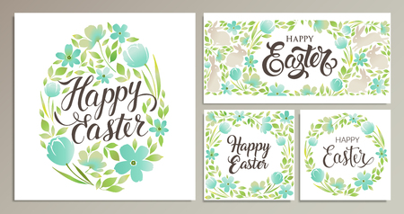 Happy Easter cards with floral design Stock Illustratie
