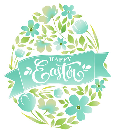Happy Easter text lettering floral egg on white background Vector illustration