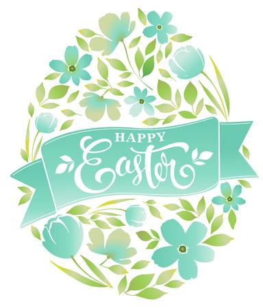 Testo felice di Pasqua che segna uovo con lettere floreale sull'illustrazione bianca di vettore del fondo Archivio Fotografico - 96787984