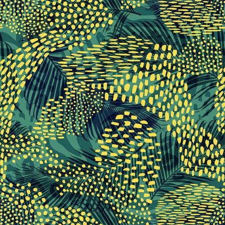 Streszczenie geometryczny wzór z nadrukiem zwierząt. Modne ręcznie rysowane tekstury.