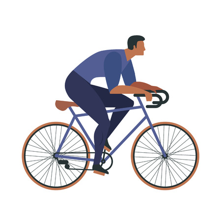 Cool vector character design on adult young man and woman riding bicycles. Stylish male and female hipsters on bicycle, side view, isolated.