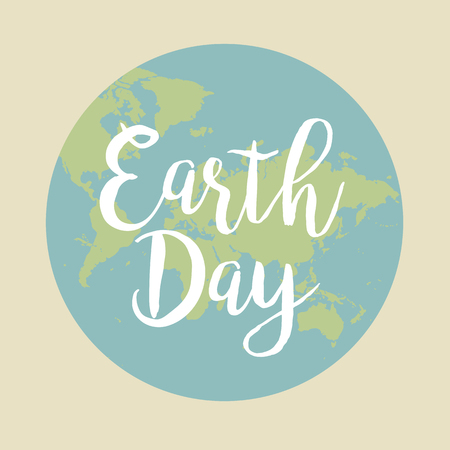 Earth Day vector illustration with words.