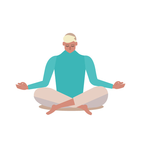 Yoga. Person sitting in a lotus pose Vector illustration flat design. Banque d'images - 103590357