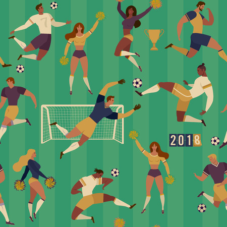 Football soccer players cheerleaders fans set of isolated human figures with merch marks of favourite team Seamless pattern illustration