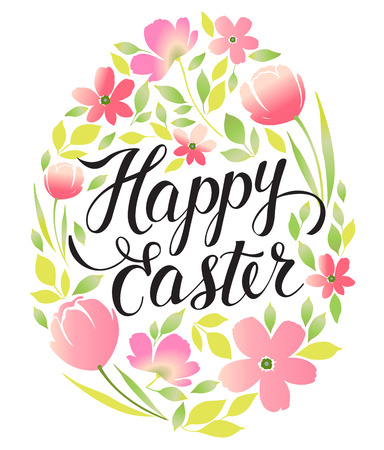 Decorative frame Happy Easter and floral. Easter eggs with ornaments in circle shape. Greeting card.