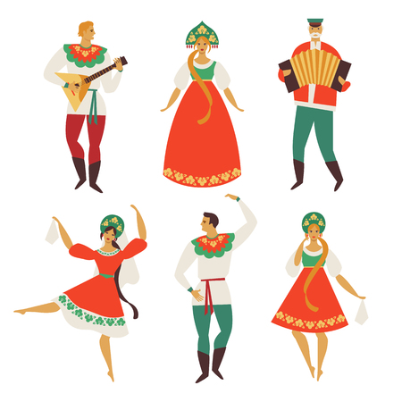 Russian folk costume. Flat design. Vector illustration. Çizim