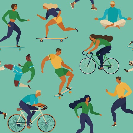 Vector seamless pattern with active young people and Healthy lifestyle like cycling, skateboarding and running.