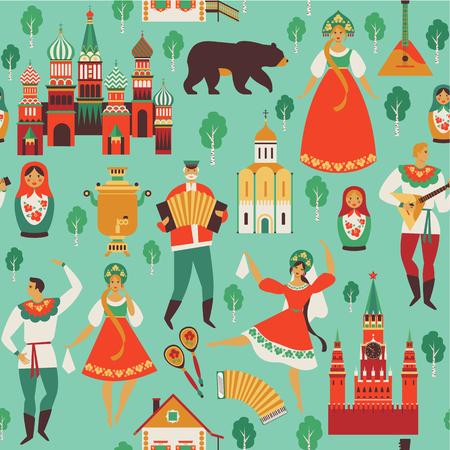 Russische Sehenswürdigkeiten und Volkskunst . Flache Designvektorillustration . Nahtloses Muster Vektor Standard-Bild - 98223209
