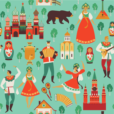 Russian sights and folk art. Flat design Vector illustration. Seamless pattern vector Stock Photo