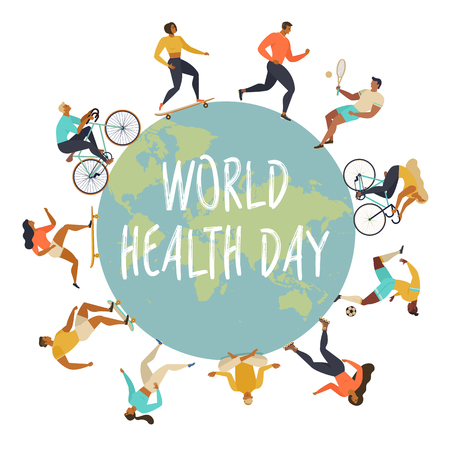 World Health Day 7th april with the image of doctors. Vector illustrations. Illustration