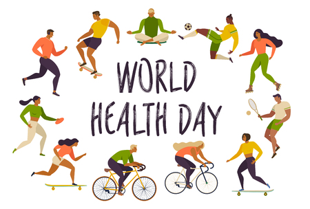 World Health Day. Healthy lifestyle. Roller skates, running, bicycle, run, walk, yoga. Active young people. Vector illustrations. Design element colorful.