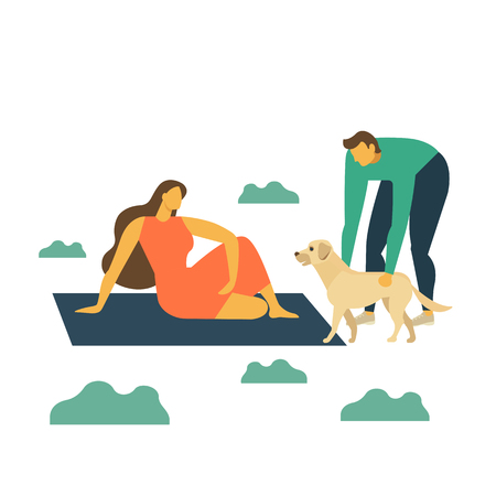Happy family on picnic. Young man, woman and dog are resting nature. Vector illustration flat style.