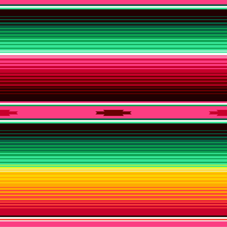Mexican Blanket Stripes Seamless Vector Pattern. Background for Cinco de Mayo Party Decor or Mexican Food Restaurant Menu. Ilustração