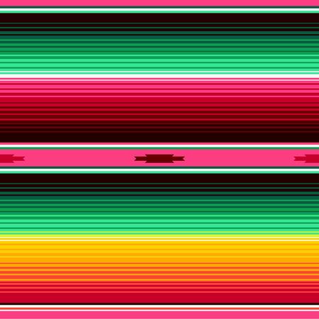 Patrón de Vector transparente de rayas de manta mexicana. Fondo para la decoración de la fiesta del Cinco de Mayo o el menú del restaurante de comida mexicana. Ilustración de vector