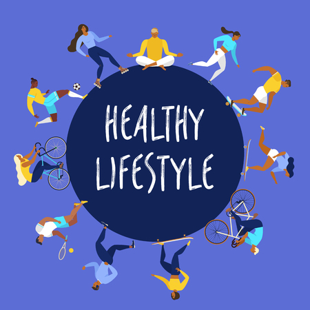 Healthy lifestyle concept. Vector illustration with people forming a circle on color background. Illusztráció