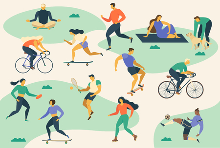 Active young people. Healthy lifestyle. Roller skates, running, bicycle, run, walk, yoga Design element colorful Vector illustrations
